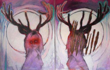 Magic Garden-SarahSilbergelatineabzug, ÖlDiptychon 90 x 70 x 2